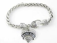 Band Mom Clear Crystal Heart Silver Lobster Claw Bracelet Music Marching Jewelry