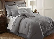 Gray 24 Piece Set Embroidered Queen Size Comforter Bedding Bedroom Bed In A Bag