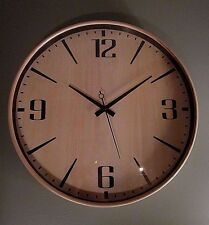 "YOUNG TOWN QUARTZ SOLID WOOD WALL CLOCK - 16"" in Diameter, Frame/Face Light Wood"