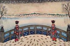 Japon aquarelle signée AD dans le goût des estampes a priori fin XIXe japonisme