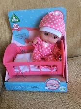 "Berenguer Mini 5"" Lil Cutesies Vinyl Doll In Cot. ELC. JC Toys. Cupcake."