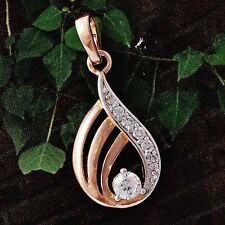 fashion womens Rose Gold Filled Silver Crystal stone Pendant for long necklace