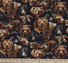 Cotton Nature Studies 2 Animals Realistic Bear Allover Fabric Print Yd D770.58