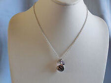 """AWESOME INITIAL NECKLACE SILVER TONE CHAIN, """"S"""", PURPLE, BLUE & BLACK CHARMS"""