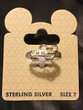 Disney World Parks Mickey Sterling Buckle Ring Sz 7 New On Card