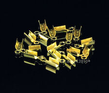 100pcs Gold Plated Fold Over End Cord Crimp Bead Cap jewelry making Desig 10x3mm