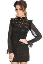 NUOVO-Black Lace chiffon mini abito da sera-Long Sheer maniche-COCKTAIL-sera - 8