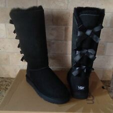 UGG Triplet Triple Bailey Bow Tall Black Boots Suede / Sheepskin US 9 Womens