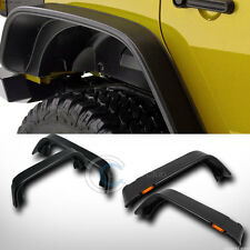 BLACK FLAT FRONT+REAR FENDER FLARES COVER AMBER LIGHTS 07-16 WRANGLER 4 DOOR JK