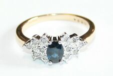 Beautiful 9ct Gold Sapphire & Diamond Boat Shaped Cluster Ring Size N