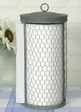 Country Primitive Metal Chicken Wire Standing Paper Towel Holder