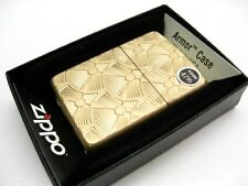 ZIPPO Full Size Tumbled Brass Carved SWIRL Pattern Armor Windproof Lighter 28541