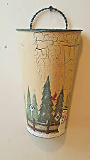 Winter Scene Wall Pocket Tin with Handle Snowman Bird Trees Craquelure Painted