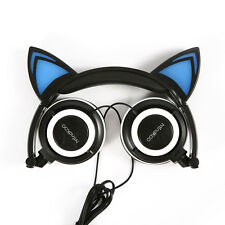 Black Mindkoo Cat Ear Headset Foldable CUTE LEDLight Headphone Earphone Headband