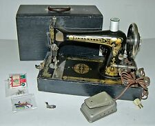 RARE! Vintage 1920's Franklin Long Shuttle Electric Sewing Machine,Bobbins,Case!