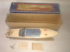 HORNBY n°3 FREGATE jouet tôle canot de bassin bateau mécanique oxydation boxed