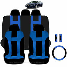NEW BLUE & BLACK POLYESTER SEAT COVERS & STEERING COMBO 12PC SET FOR CARS 2324