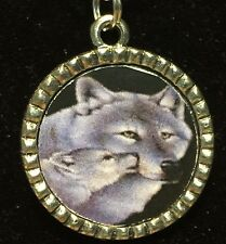 "Wolf & Cub Charm Tibetan Silver with 18"" Necklace A51"