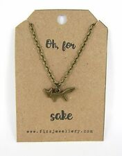 """Cute Bronze Little Fox Necklace on """"Oh, For Fox Sake"""" Card New"""