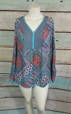 Investments Purple Red Blue White Geo Floral Print Top Blouse Shirt Sz XL
