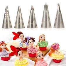 5Pcs Stainless Steel Tips Nozzles For Piping Bags Icing Frosting Pastries Cakes