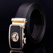 Belt Men's Genuine Leather Cowskin Designer Black Gold CarLogo Buckle Mens New