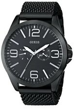 New GUESS Watch Men Black Ion-Plated Stainless Steel Mesh Bracelet 49mm U0180G2