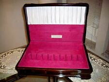 Vintage Dark Wood Community Flatware Silverware Storage Chest Box Anti Tarnish