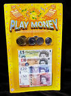 PRETEND FAKE ROLE PLAY MONEY COINS & NOTES KIDS TOY FUN LEARNING MONOPOLY SET