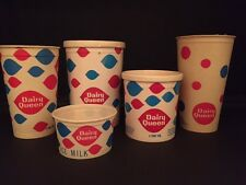 "1960's Dairy Queen, ""Un-Used"" Ice Cream Cup & Container Lot (5)"