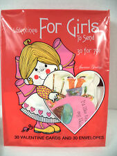 Sealed set 30 vintage Valentines Day die cut cards American Greetings 1979 girls