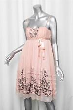 RED VALENTINO Womens Peach Orange Silk Tulle Empire Waist Cocktail Dress 40/2