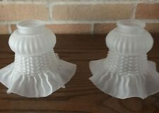 """Pair of Vintage Frosted Victorian Light Fixture Globes, Ornate, Ruffled, 7"""""""