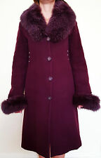 "Women's DEMKAR WINTER WARM WOOL COAT ""REAL FOX FUR""  BURGUNDY  Size S M GREAT"
