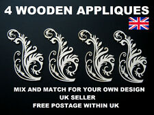 4 FURNITURE APPLIQUES SHABBY CHIC WOODEN DECORATIVE FURNITURE  MOULDING ONLAY