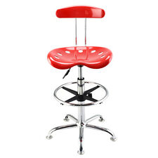 Adjustable Bar Stools ABS Tractor Seat Swivel Chrome Kitchen Breakfast Red