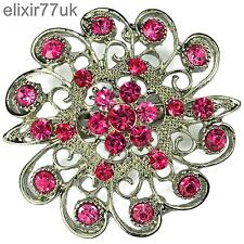 "NEW 2"" SILVER FLOWER PIN BROOCH PINK RHINESTONE DIAMANTE CRYSTAL BRIDAL PARTY UK"