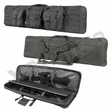 """VISM NcSTAR Tactical 46"""" Padded Double Carbine Rifle Weapons Gun Case Bag Gray"""