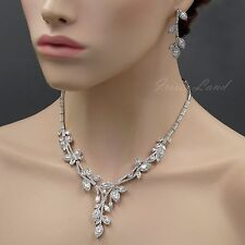 White Gold Plated Clear Cubic Zirconia Necklace Earrings Wedding Jewelry Set 455