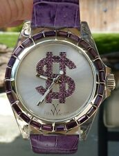 TOY WATCH LADIES MONEY PURPLE BAGUETTE CRYSTAL BEZEL WATCH TOYD12PR NIB $490 RET