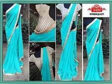 BEAUTIFUL DESIGNER PARTY WEAR SKY BLUE COLOR PEARL WORK  BLOUSE SAREE