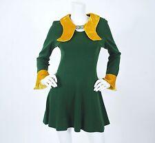 1960's Vtg Mod Psych Girl Green Mustard Velvet Collar Silver Clasp Mini Dress S