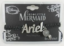 New Disney The Little Mermaid Ariel Statement W/ Fork Charms Black Cord Bracelet