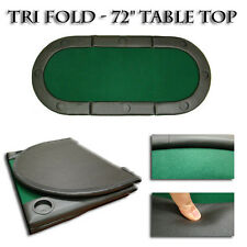 "New Folding Oval Padded Green Tri-Fold Poker Table Top 72""x32"" With Cup Holders"