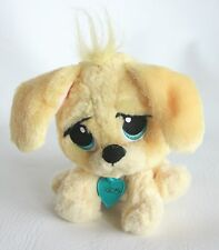 """Rescue Pets Yellow Puppy Dog Plush Doll 6"""" Writing on heart tag Big Blue Eyes"""