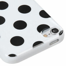 for iPod Touch 5th / 6th Gen - Black White Polka Dots TPU Gummy Rubber Skin Case