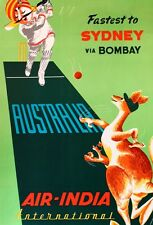 VINTAGE AIR INDIA TRAVEL TO AUSTRALIA CRICKET PLAYERS  A3 POSTER REPRINT