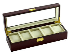 5 Watch Storage Case with Viewing Window, Cherry Wood Finish by Diplomat
