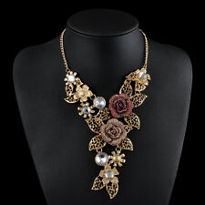 Women Vintage Jewelry Pendant Chain Crystal Flower Chunky Bib Statement Necklace