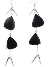 F1740 vogue black Feather silver tone chain dangle chandelier light earrings new